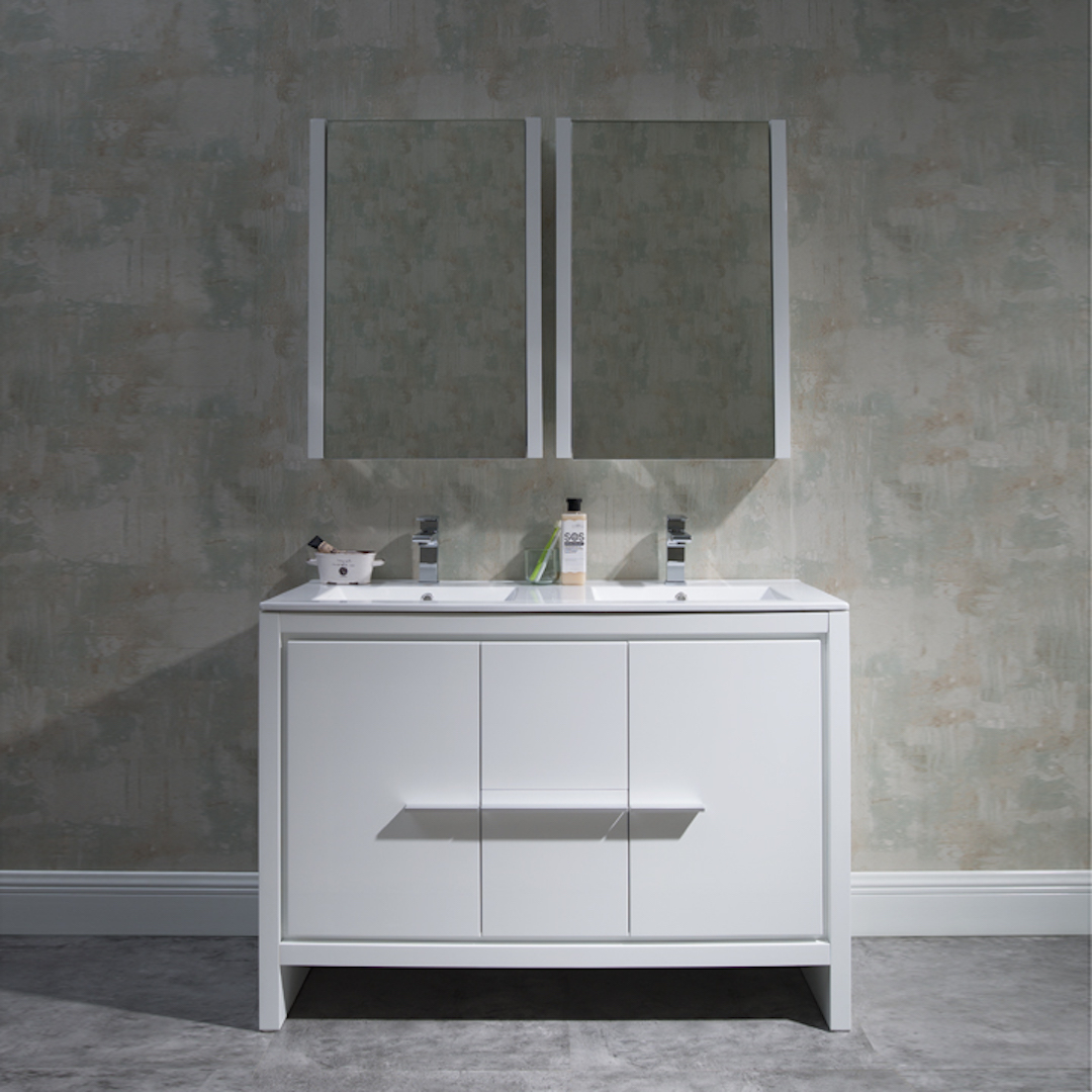 "Milan Modern 48"" Glossy White Double Bathroom Vanity Set with Mirror"