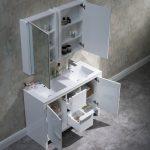 Milan Modern 48″ Glossy White Double Bathroom Vanity Set with Mirror