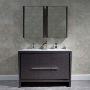 "Milan Modern 48"" Silver Grey Double Bathroom Vanity Set with Mirror"