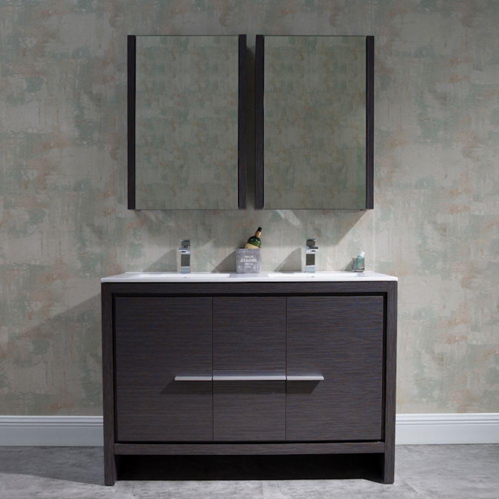 "Milan Modern 48"" Silver Grey Double Bathroom Vanity Set with Mirror"