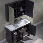 Milan Modern 48″ Silver Grey Double Bathroom Vanity Set with Mirror