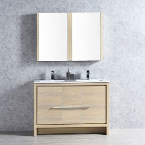 "Milan Modern 48"" Briccole Oak Double Bathroom Vanity Set with Mirror"