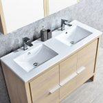 Milan Modern 48″ Briccole Oak Double Bathroom Vanity Set with Mirror