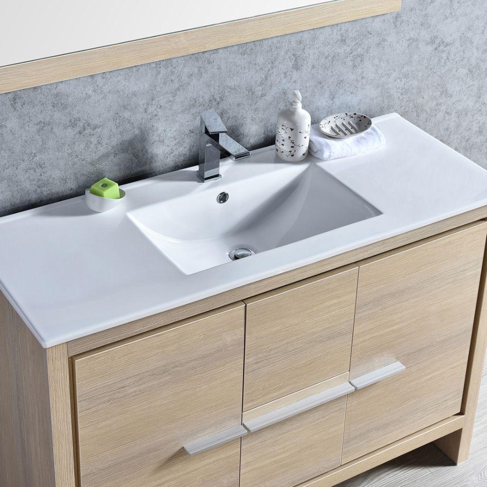 "Milan Modern 48"" Briccole Oak Bathroom Vanity Set with Mirror"