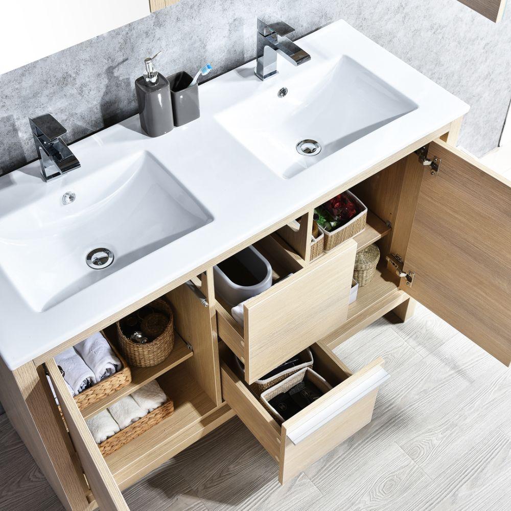 "Milan Modern 48"" Briccole Oak Double Bathroom Vanity Set with Mirror"