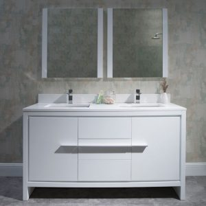 "Milan Modern 60"" Glossy White Double Bathroom Vanity Set with Mirrors"