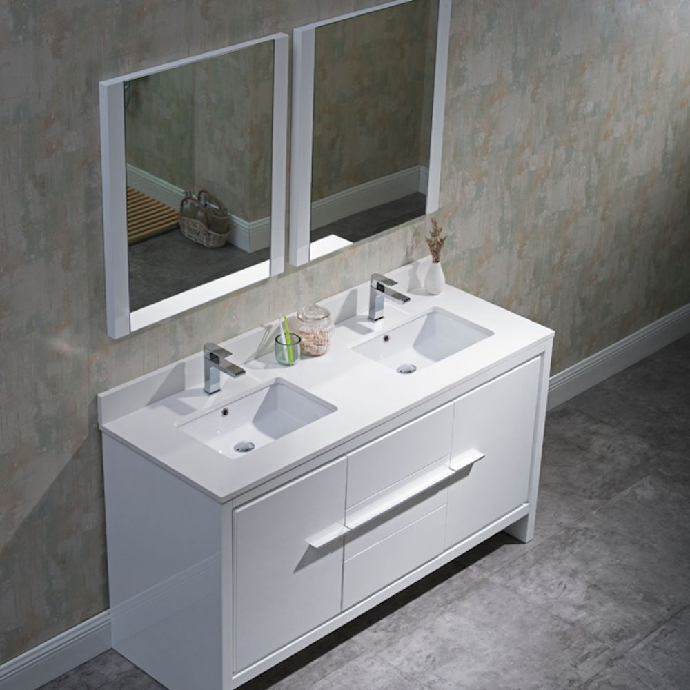 """Milan Modern 60"""" Glossy White Double Bathroom Vanity Set with Mirrors"""