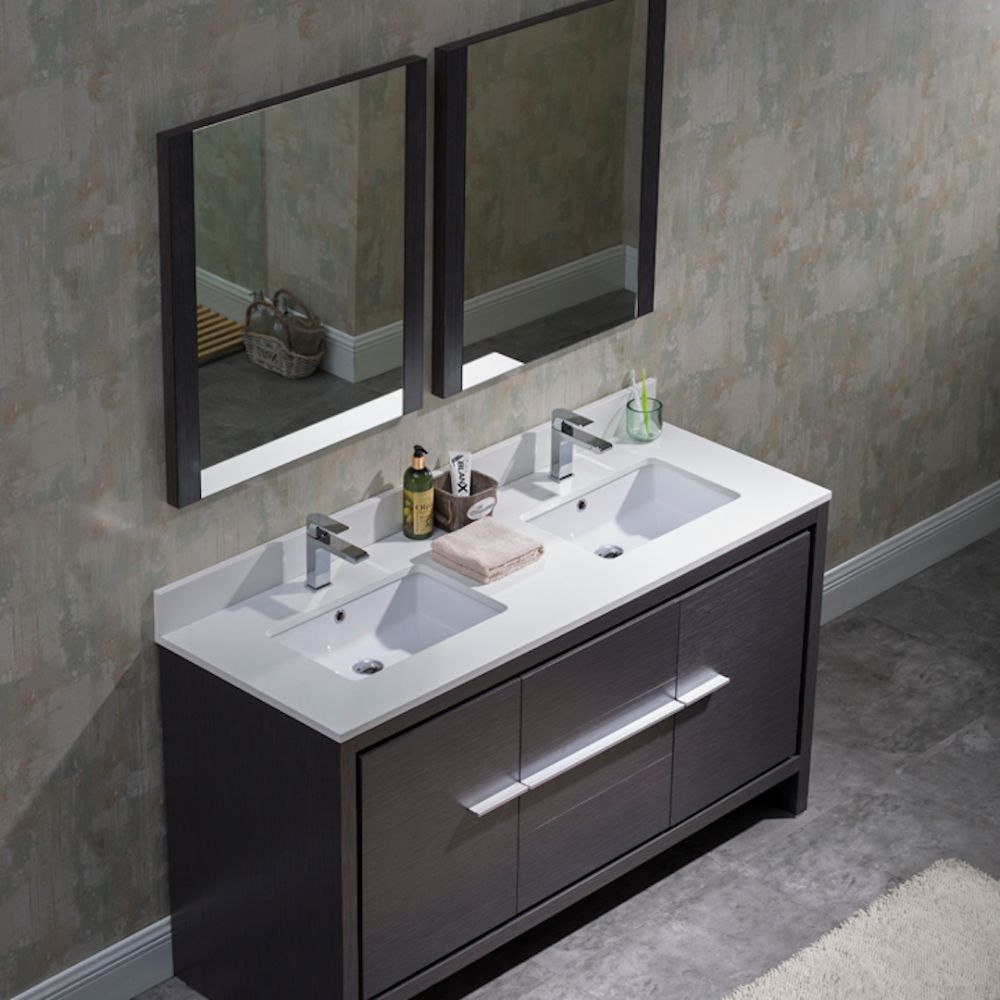 "Milan Modern 60"" Silver Grey Double Bathroom Vanity Set with Mirrors"