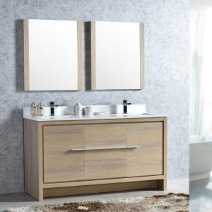 "Milan Modern 60"" Briccole Oak Double Bathroom Vanity Set with Mirrors"