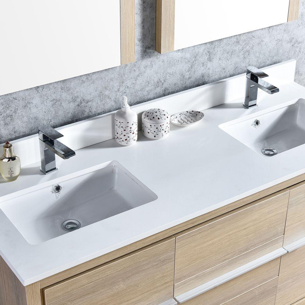"Milan Modern 60"" Briccole Oak Double Bathroom Vanity Set with Mirrors"