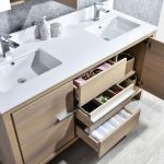Milan Modern 60″ Briccole Oak Double Bathroom Vanity Set with Mirrors