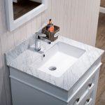 Bordeaux 24″ Matte White Bathroom Vanity Set with Mirror and White Carrara Marble Countertop