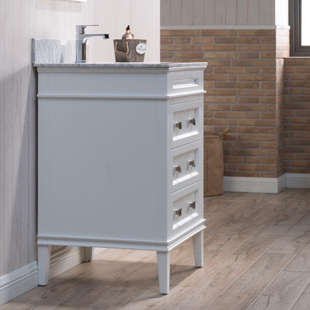 "Bordeaux 24"" Matte White Bathroom Vanity Set with Mirror and White Carrara Marble Countertop"