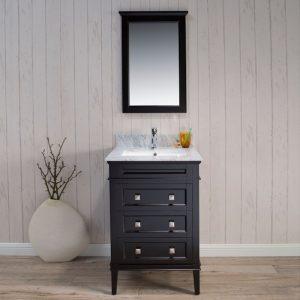 "Bordeaux 24"" Espresso Bathroom Vanity Set with Mirror and White Carrara Marble Countertop"