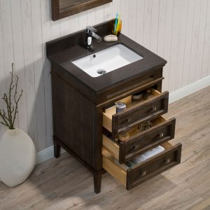 "Bordeaux 24"" Espresso Bathroom Vanity Set with Mirror and White Carrara Marble Countertop"
