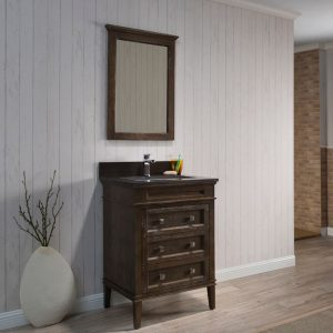 "Bordeaux 24"" Black Red Oak Bathroom Vanity Set with Mirror and White Carrara Marble Countertop"