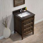 Bordeaux 24″ Black Red Oak Bathroom Vanity Set with Mirror and White Carrara Marble Countertop