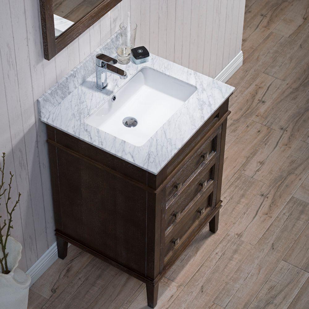 "Bordeaux 24"" Black Red Oak Bathroom Vanity Set with Mirror and White Carrara Marble Countertop"