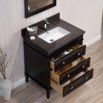 Bordeaux 30″ Espresso Bathroom Vanity Set with Mirror and Mocha Woodland Quartz Countertop