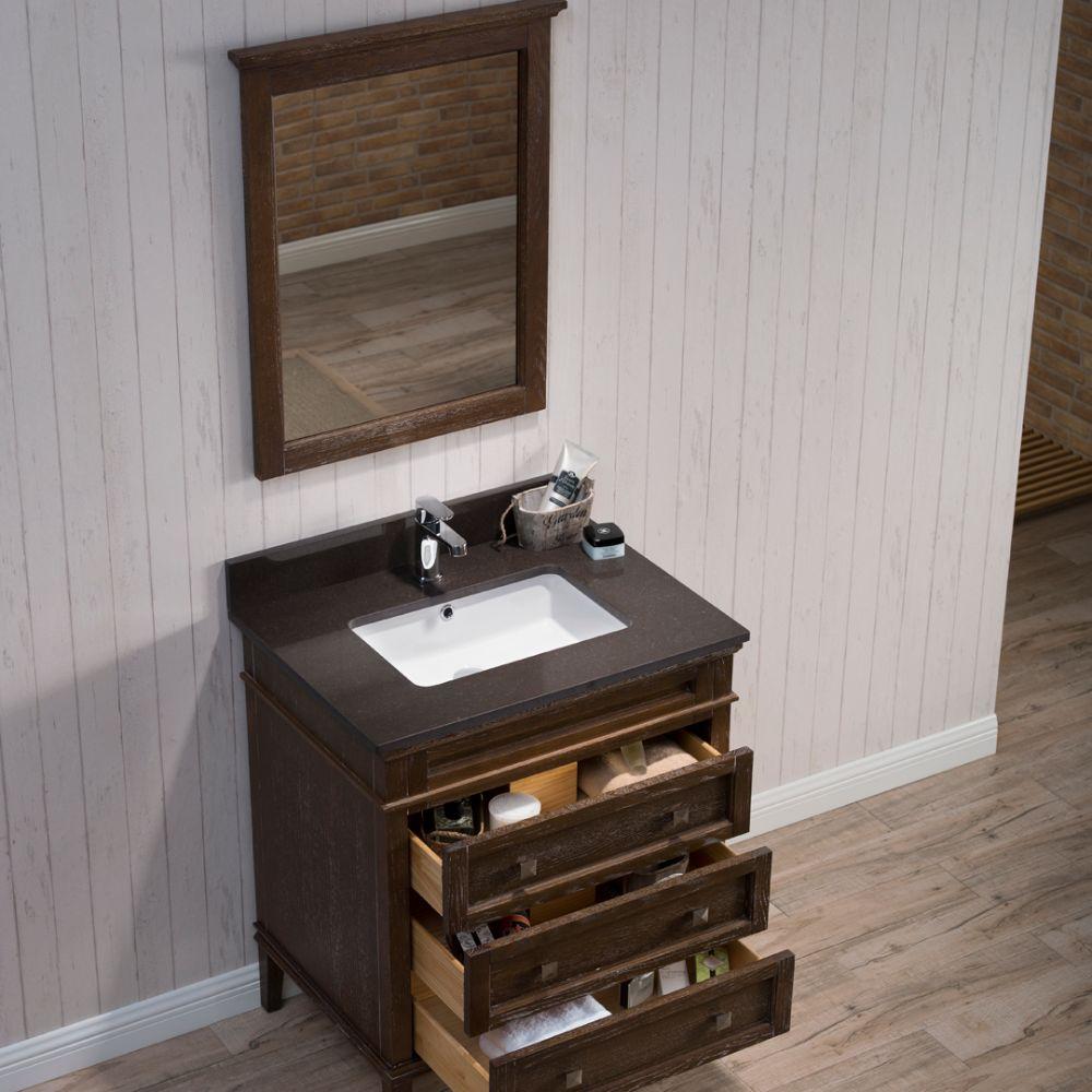 "Bordeaux 30"" Black Red Oak Bathroom Vanity Set with Mirror and Mocha Woodland Quartz Countertop"