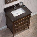 Bordeaux 30″ Black Red Oak Bathroom Vanity Set with Mirror and Mocha Woodland Quartz Countertop