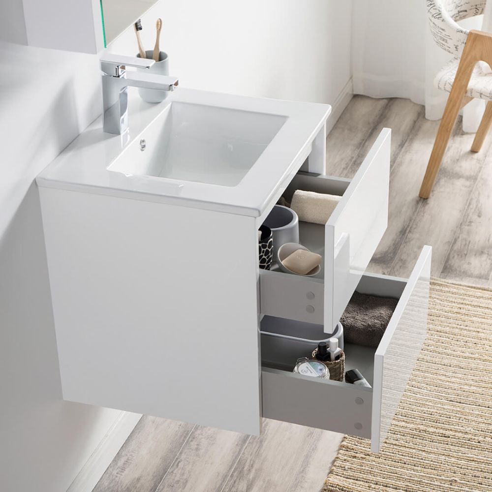 "Valencia Modern 20"" Bathroom Vanity Set with Medicine Cabinet Glossy White"