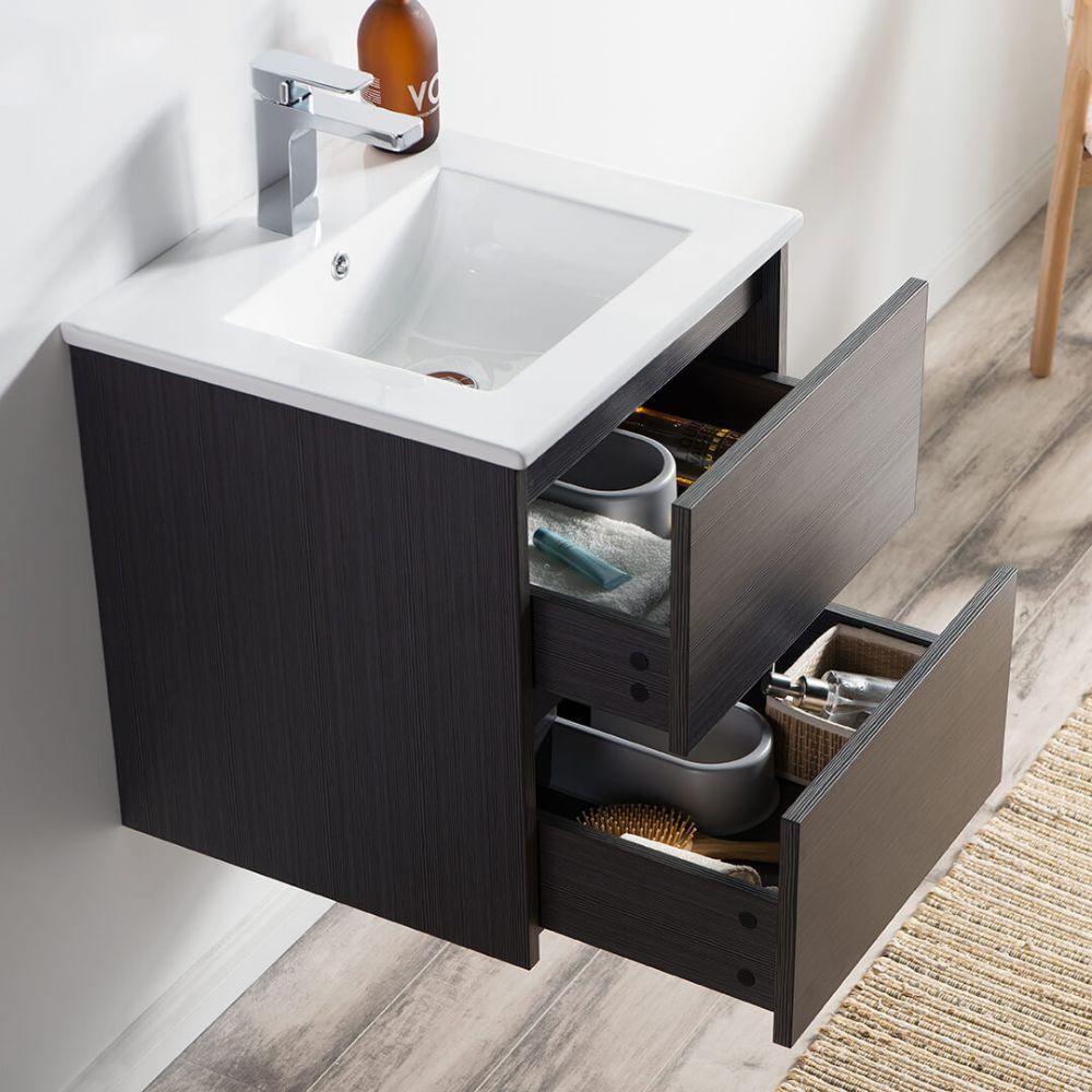 """Valencia Modern 20"""" Bathroom Vanity Set with Medicine Cabinet Silver Gray"""