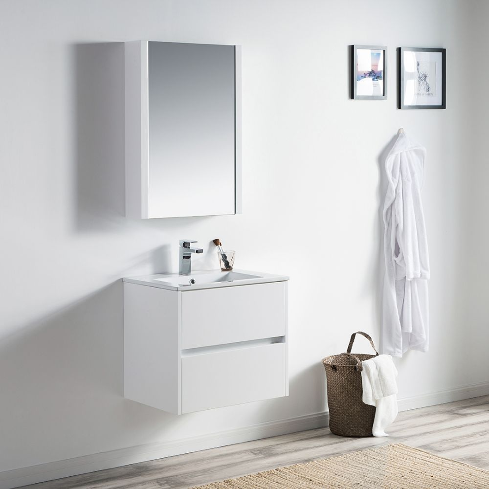 "Valencia Modern 24"" Bathroom Vanity Set with Medicine Cabinet Glossy White"