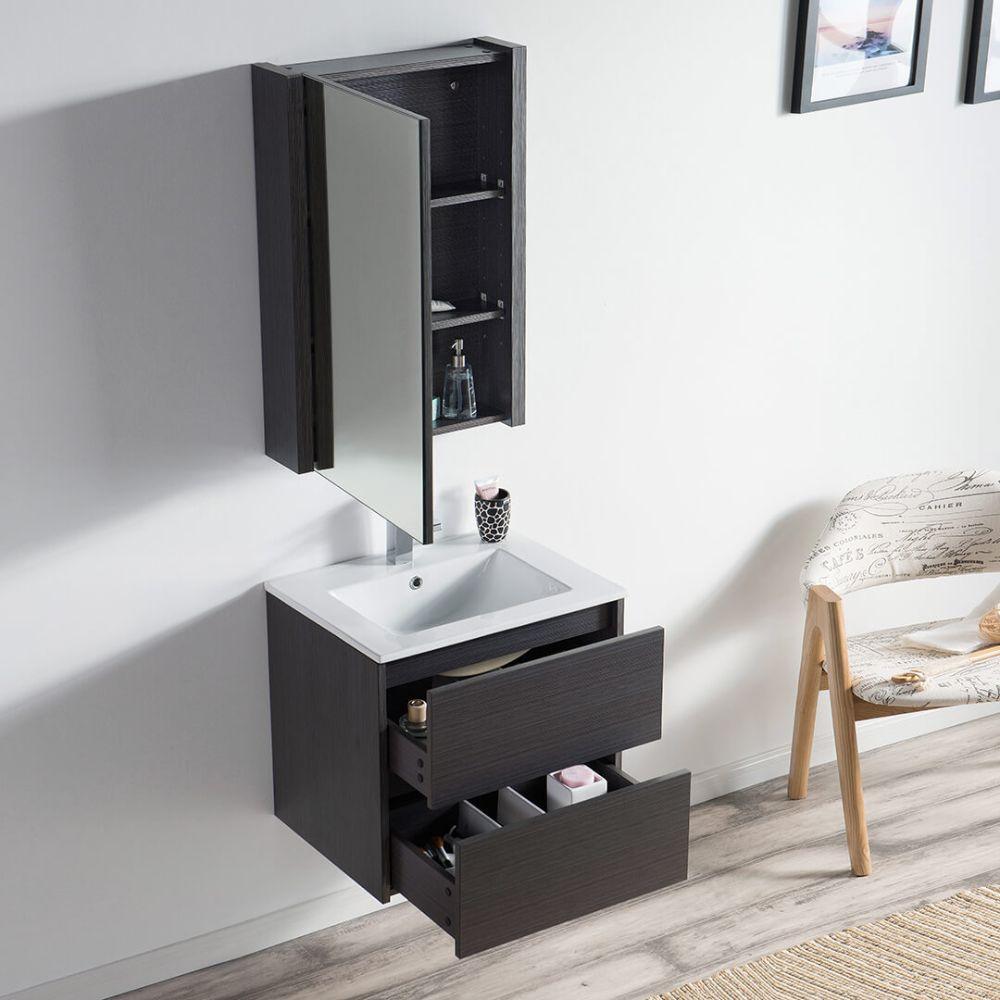 """Valencia Modern 24"""" Bathroom Vanity Set with Medicine Cabinet Silver Gray"""