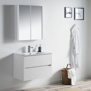 "Valencia Modern 30"" Bathroom Vanity Set with Medicine Cabinet Glossy White"