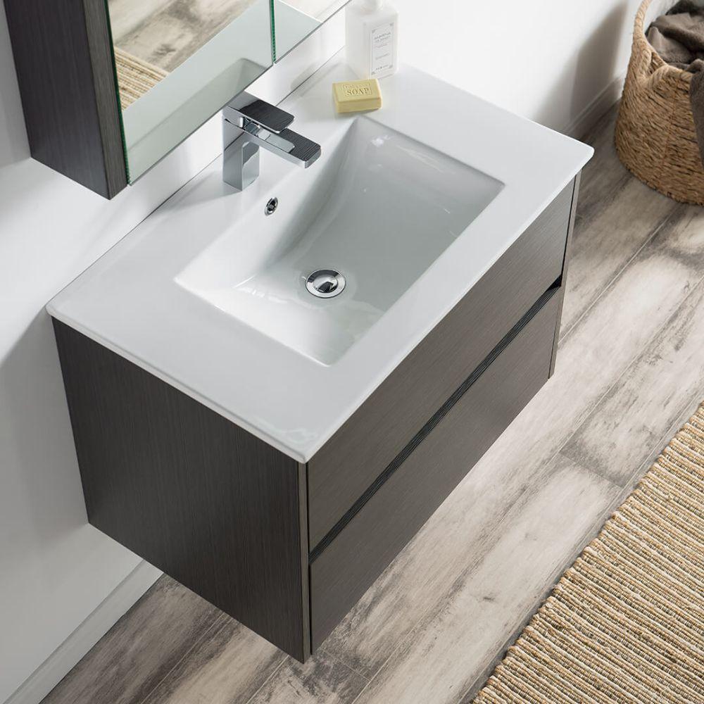 """Valencia Modern 30"""" Bathroom Vanity Set with Medicine Cabinet Silver Gray"""
