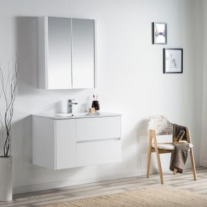 "Valencia Modern 36"" Bathroom Vanity Set with Medicine Cabinet Glossy White"