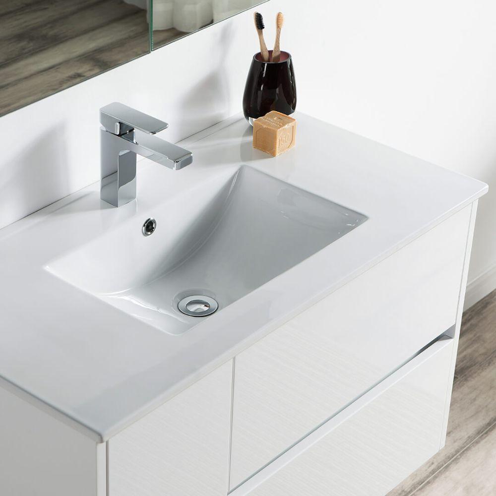 "Valencia Modern 36"" Bathroom Vanity Set with Medicine Cabinet Glossy White"