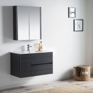 "Valencia Modern 36"" Bathroom Vanity Set with Medicine Cabinet Silver Gray"