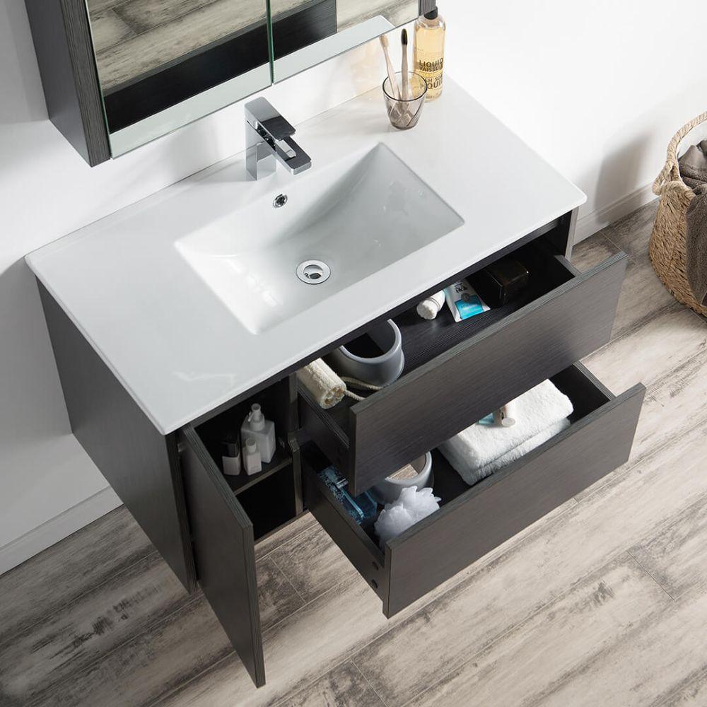 """Valencia Modern 36"""" Bathroom Vanity Set with Medicine Cabinet Silver Gray"""