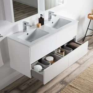 "Valencia Modern 48"" Double Bathroom Vanity Set with Medicine Cabinet Glossy White"