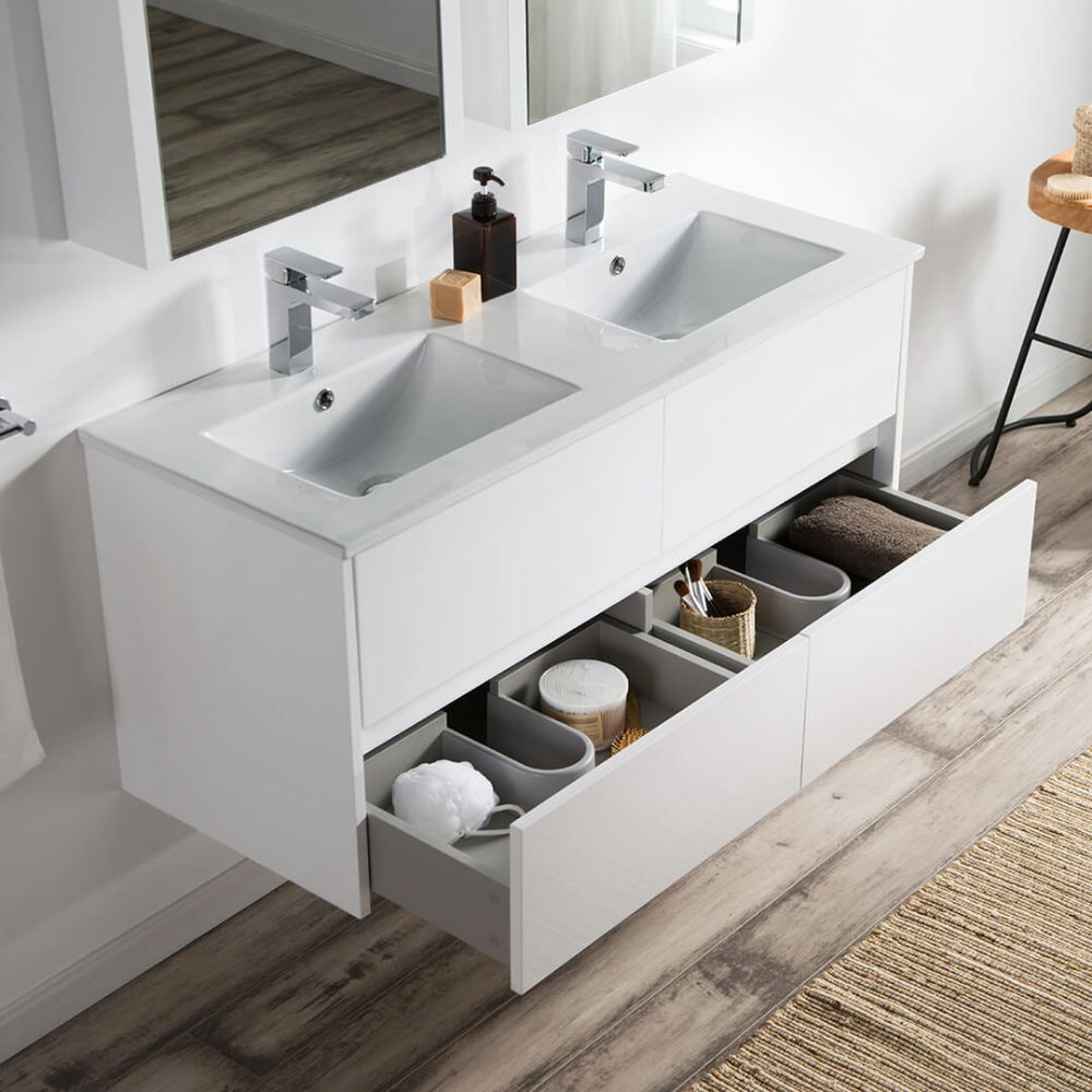 """Valencia Modern 48"""" Double Bathroom Vanity Set with Medicine Cabinet Glossy White"""