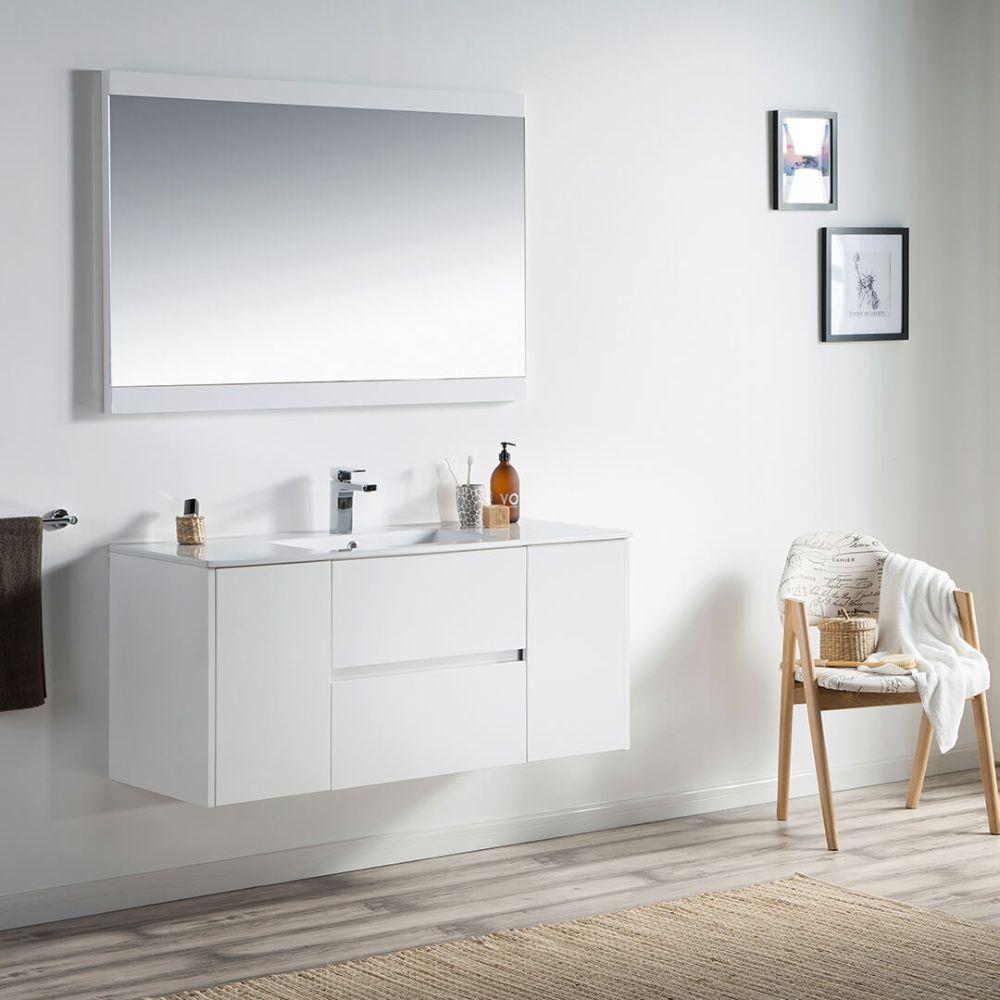 "Valencia Modern 48"" Single Bathroom Vanity Set with Mirror Glossy White"