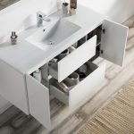 Valencia Modern 48″ Single Bathroom Vanity Set with Mirror Glossy White