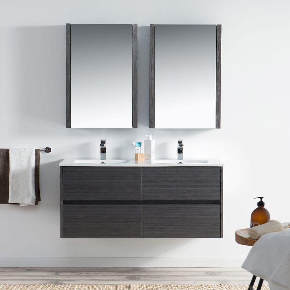 """Valencia Modern 48"""" Double Bathroom Vanity Set with Medicine Cabinet Silver Gray"""