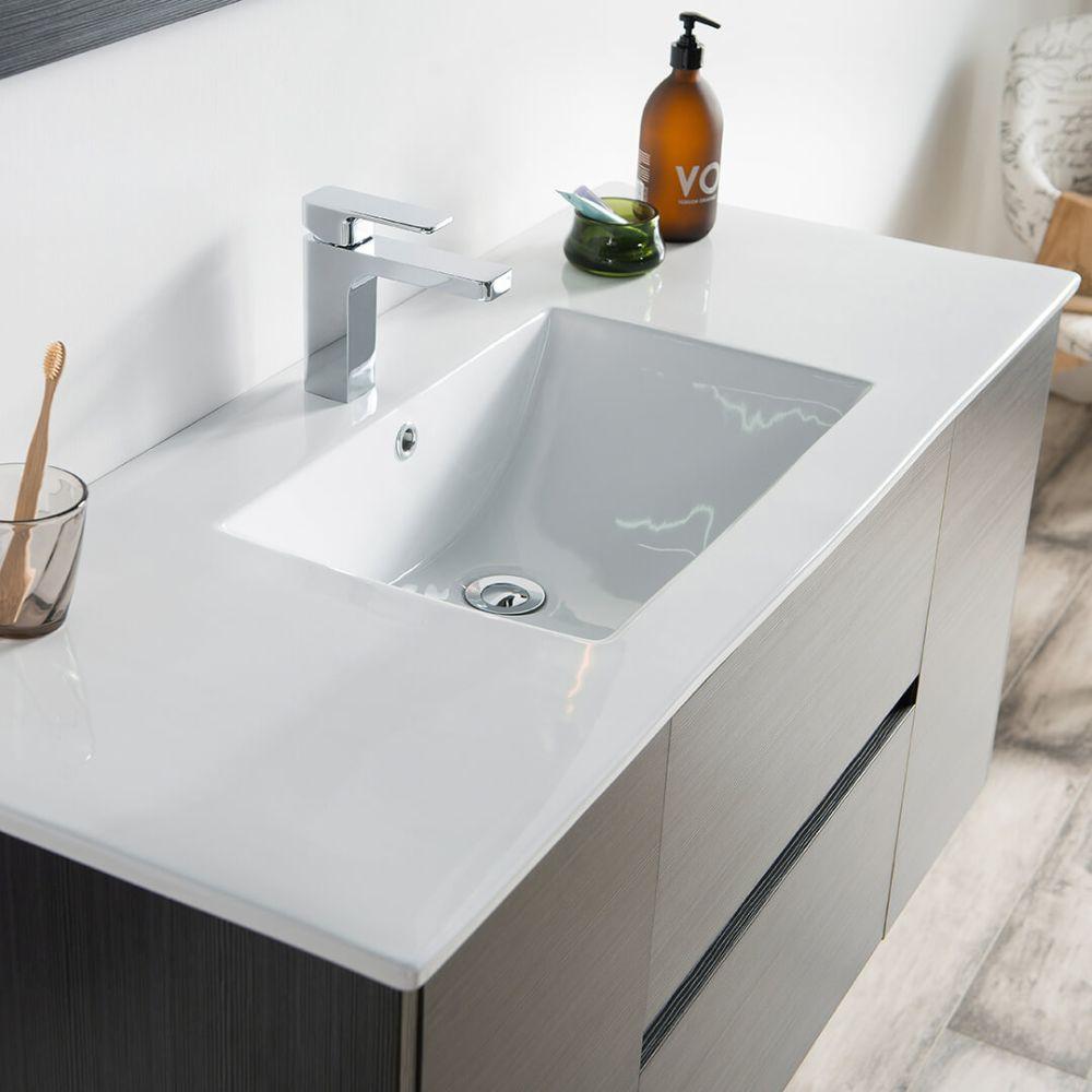 "Valencia Modern 48"" Single Bathroom Vanity Set with Mirror Silver Gray"