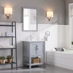 Lucca Modern 24″ Bathroom Vanity Set with Mirror Metal Gray