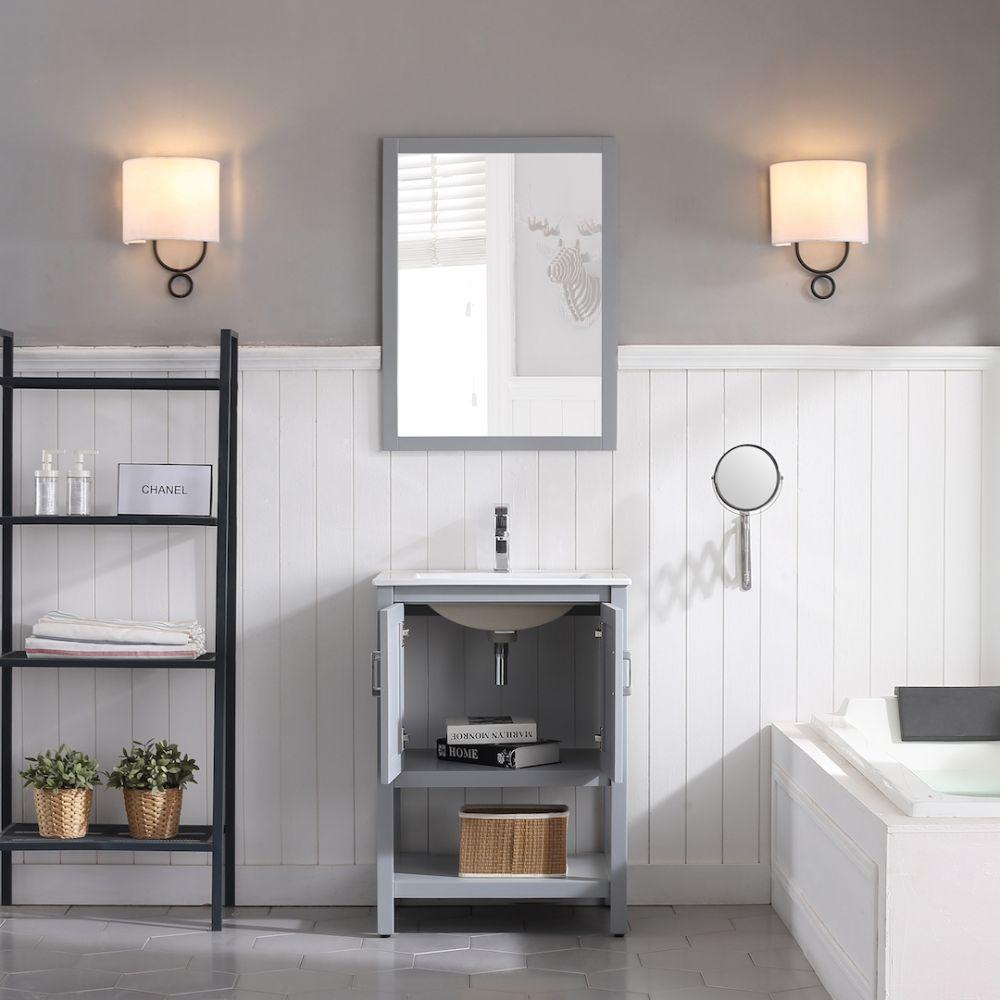 "Lucca Modern 24"" Bathroom Vanity Set with Mirror Metal Gray"
