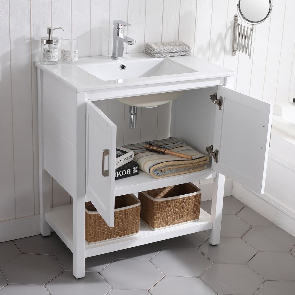 "Lucca Modern 30"" Bathroom Vanity Set with Mirror Matte White"