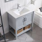 Lucca Modern 30″ Bathroom Vanity Set with Mirror Metal Gray