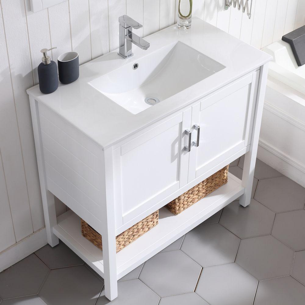 "Lucca Modern 36"" Bathroom Vanity Set with Mirror Matte White"