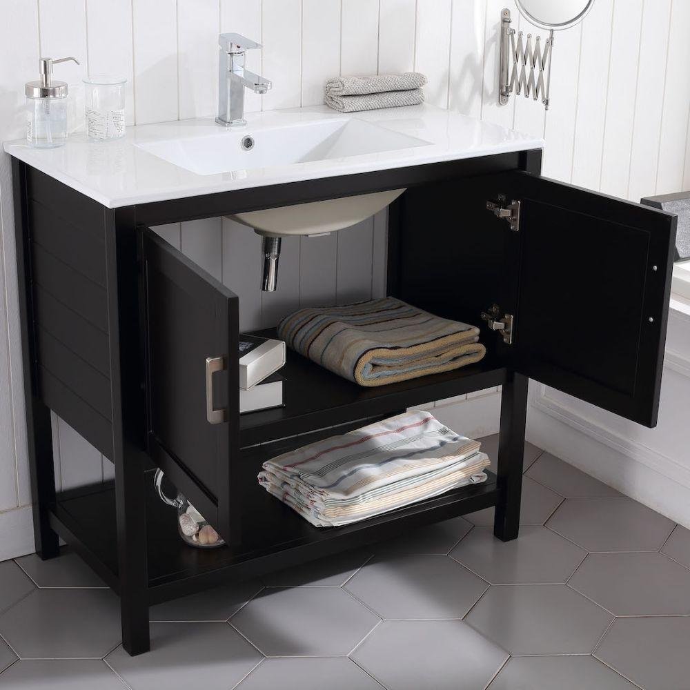 "Lucca Modern 36"" Bathroom Vanity Set with Mirror Espresso"
