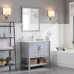 Lucca Modern 36″ Bathroom Vanity Set with Mirror Metal Gray