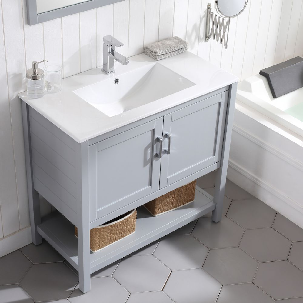 "Lucca Modern 36"" Bathroom Vanity Set with Mirror Metal Gray"