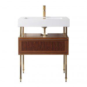 """Dakota 30"""" Modern Bathroom Vanity  Teak Brown with Satin Bras Hardware"""